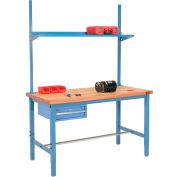"""96"""" W x 30"""" D Production Workbench - érable Butcher Block Square Edge w / tiroir, Upright & plateau - bleu"""