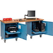 Global Industrial™ 72 x 30 Shop Top Safety Edge Mobile Pedestal Workbench Blue