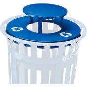 Global Industrial™ Rain Bonnet Lid - 36 Gallon Blue w/ Recycle Logos