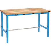 Global Industrial™ 72 x 36 Adj. Height Workbench - Power Apron, Finished Birch Square Edge Blue