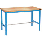 Global Industrial™ 96 x 36 Adjustable Height Workbench Square Tube Leg - Birch Square Edge Blue