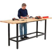 Global Industrial™ 96 x 30 Standing Height Workbench - Birch Butcher Block Square Edge - Black