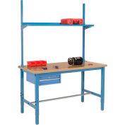Global Industrial™ 60x30 Production Workbench Shop Top Square Edge - Drawer, Upright & Shelf BL