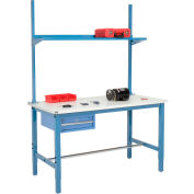 """72""""W x 36""""D Production Workbench - ESD Laminate Square Edge with Drawer, Upright & Shelf - Blue"""