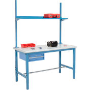 Global Industrial™ 60x30 Production Workbench Laminate Safety Edge, Drawer, Upright & Shelf BL