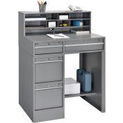 "Global Industrial™ Pedestal Shop Desk w/ 4 Drawers & Shelf, 38""W x 29""D, Gray"