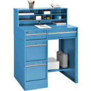 "Global Industrial™ Pedestal Shop Desk w/ 4 Drawers & Shelf, 38""W x 29""D, Blue"