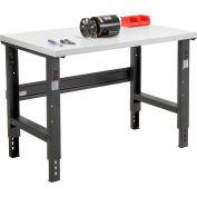 "48""W x 36""D Adjustable Height Workbench C-Channel Leg - Plastic Laminate Square Edge - Noir"