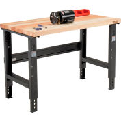 Global Industrial™ 48x30 Adjustable Height Workbench C-Channel Leg - Maple Square Edge - Black