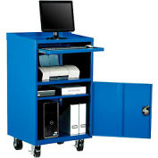 Meuble d'ordinateur mobile Global Industrial™, 27 po de largeur x 24 po de diamètre x 49-1/2 po de hauteur, bleu, assemblé