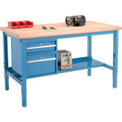 """72""""W x 30""""D Production Workbench - Maple Butcher Block Safety Edge with Drawers & Shelf - Blue"""