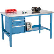Global Industrial™ 72x30 Production Workbench, Stainless Steel Square Edge, Drawers - Shelf BL