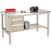 Global Industrial™ 72x30 Production Workbench, Stainless Steel Square Edge, Drawers - Shelf Tan
