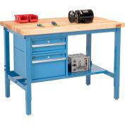 Global Industrial™ 48 x 30 Production Workbench - Birch Square Edge - Drawers & Shelf - Blue