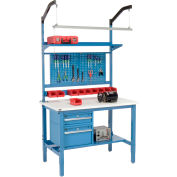 """48""""W x 36""""D Production Workbench - ESD Laminate Square Edge Complete Bench - Blue"""