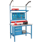 Global Industrial™ 48x30 Production Workbench - Stainless Steel Square Edge Complete Bench Blue