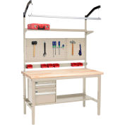 """Global Industrial™ 60""""W x 36""""D Production Workbench - Maple Safety Edge Complete Bench - Tan"""