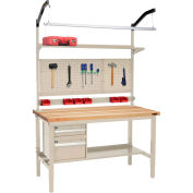"""Global Industrial™ 60""""W x 30""""D Production Workbench - Birch Square Edge Complete Bench - Tan"""