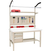 """Global Industrial™ 60""""W x 36""""D Production Workbench - ESD Square Edge Complete Bench - Tan"""