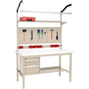 "72""W x 36""D Workbench de production - Plastic Laminate Safety Edge Complete Bench - Tan"