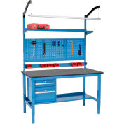 """60""""W x 36""""D Workbench de production - Phenolic Resin Safety Edge Complete Bench - Blue"""