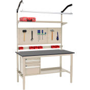 """60""""W x 36""""D Workbench de production - Phenolic Resin Safety Edge Complete Bench - Tan"""