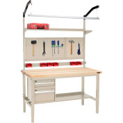 """Global Industrial™ 60""""W x 36""""D Production Workbench - Maple Square Edge Complete Bench - Tan"""