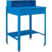 """Global Industrial™ Flat Surfaced Shop Desk w / Pigeonhole Riser, 34-1/2""""W x 30""""D, Bleu"""