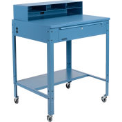 "Global Industrial™ Flat Surfaced Mobile Shop Desk w/ Pigeonhole Riser, 34-1/2""W x 30""D, Blue"
