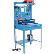 "Global Industrial™ Bureau de magasin à surface plate avec Pegboard &Top Shelf, 34-1/2""W x 30""D, Bleu"