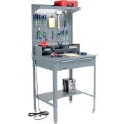 """Global Industrial™ Flat Surfaced Shop Desk w/ Pegboard & Top Shelf, 34-1/2""""W x 30""""D, Gray"""
