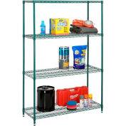 "Nexel Best Value Wire Shelving Unit 36""W x 18""D x 74""H (400 lb shelf cap) Green Epoxy"