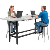 "Standing Height Table with Power - 96""L x 36""W x 42""H - Laminate - Gray"