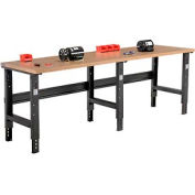 """96""""W X 30""""D Shop Top Square Edge Workbench - Adjustable Height - Black"""