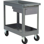 Global Industrial™ 2 Shelf Deep Tray Steel Stock Cart 30x16 500 Lb. Cap. with 1 Drawer