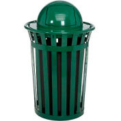 Global Industrial™ Outdoor Metal Slatted Trash Receptacle with Dome Lid - 36 Gallon Green