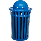 Global Industrial™ Outdoor Steel Recycling Receptacle with Dome Lid - 36 Gallon Blue