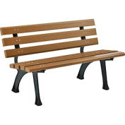 4' Plastic Park Bench With Backrest - Tan