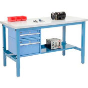 "60""W X 30""D Production Workbench - Plastic Laminate Square Edge with Drawers & Shelf- Blue"