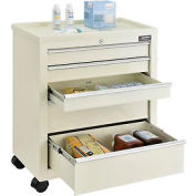 "Global™ 5-Drawer Medical Bedside Cart, Key Lock, Beige, 24-1/2""L x 13-1/4""W x 29""H"