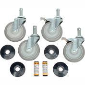 "Nexel® CA5SB (2) Swivel (2) Swivel Brake Casters, 5"" Polyurethane, Set of (4), 1200 Lb. Cap."