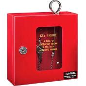 """Global Emergency Key Box, 6-1/4""""W x 2""""D x 6-7/8""""H, Keyed Alike, Red"""