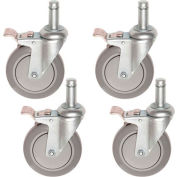 "Nexel® CA5BP4 (4) Swivel Brake Stem Casters, 5"" Polyurathane, Set of (4), 1200 lb Capacity"