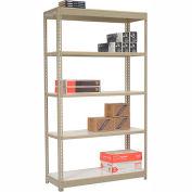 "Heavy Duty Tan Shelving 48""W x 12""D x 84""H With 5 Shelves, Laminate Deck"