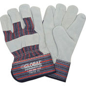 "Global™ Leather Palm Safety Gloves with 2-1/2"" Safety Cuff, X-Large, 1 Pair - Pkg Qty 12"