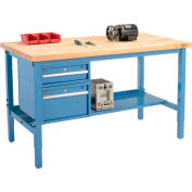 "60""W X 36""D Production Workbench - Birch Butcher Block Square Edge with Drawers & Shelf - Blue"