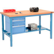 """60""""W X 36""""D Production Workbench - Maple Butcher Block Square Edge with Drawers & Shelf - Blue"""