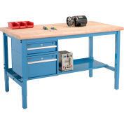 "72""W x 30""D Production Workbench - Maple Butcher Block Safety Edge with Drawers - Shelf - Blue"