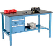 """72""""W x 36""""D Production Workbench - Phenolic Resin Safety Edge with Drawers - Shelf - Blue"""