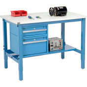 """96""""W x 36""""D Production Workbench - ESD Laminate Square Edge with Drawers - Shelf - Blue"""
